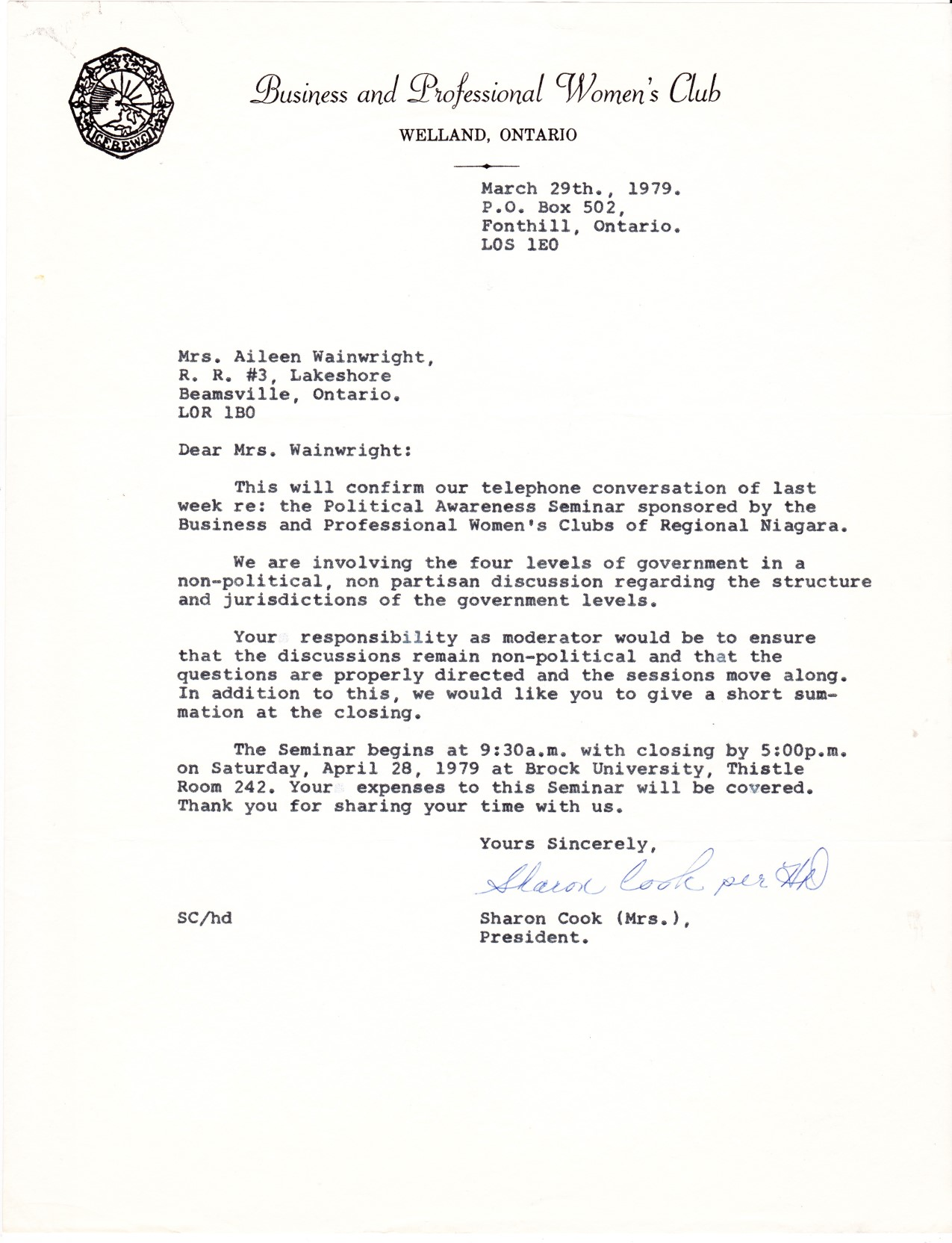 Letter to Aline from Business and Professional Women's Club - Moderator April 28, 1979- date March 29, 1979