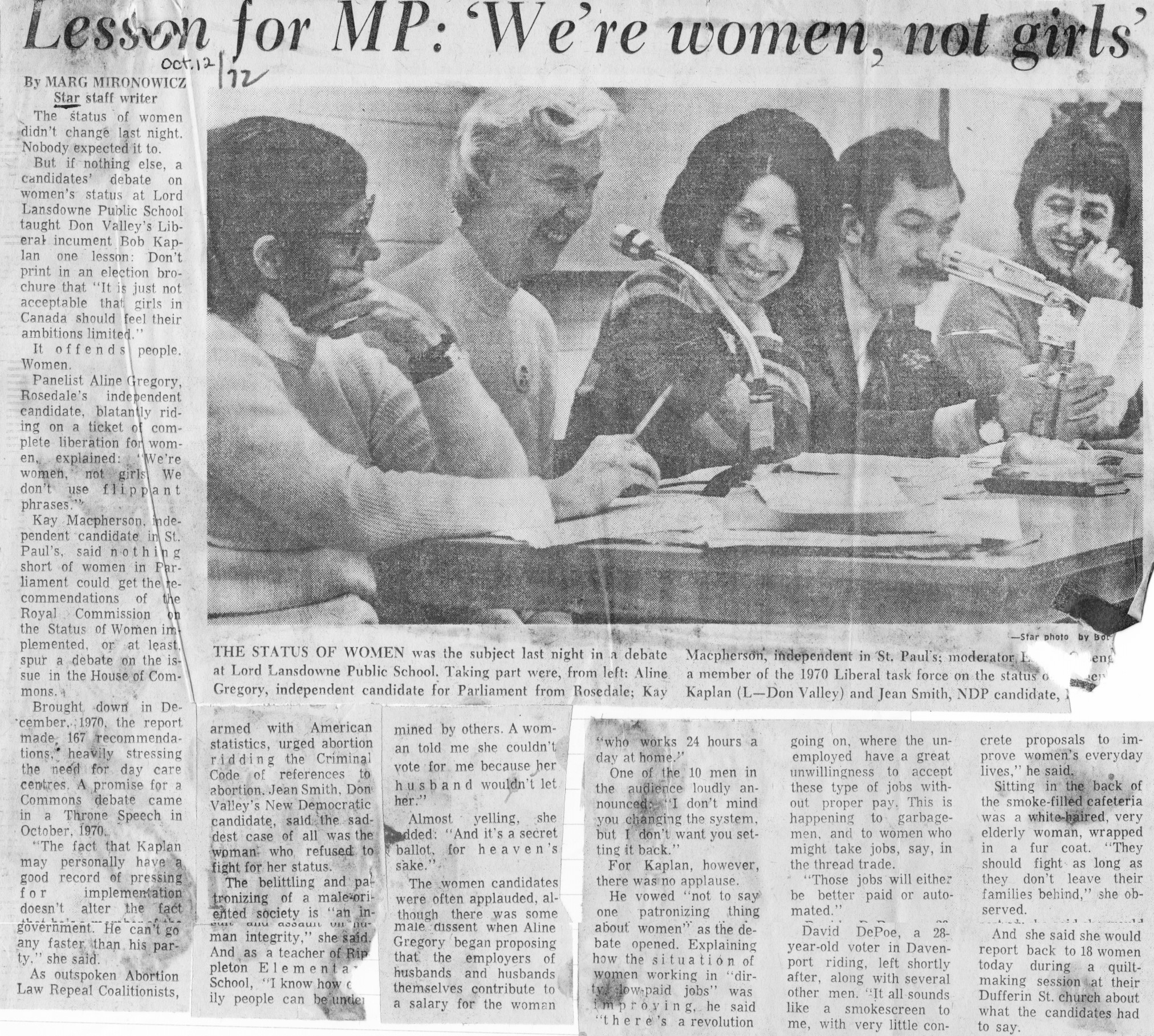 We're Women, Not Girls - Toronto Star, Oct 12 1972