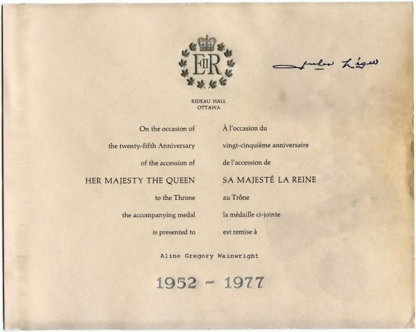 Silver Jubilee Medal - Letter