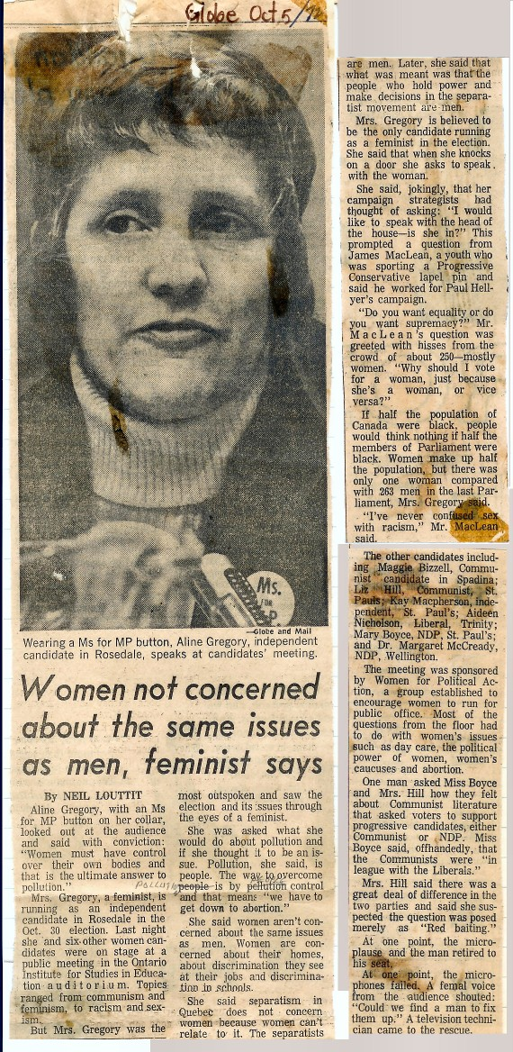 Women not concerned about the same issues as men - Globe and Mail, Oct 5, 1972