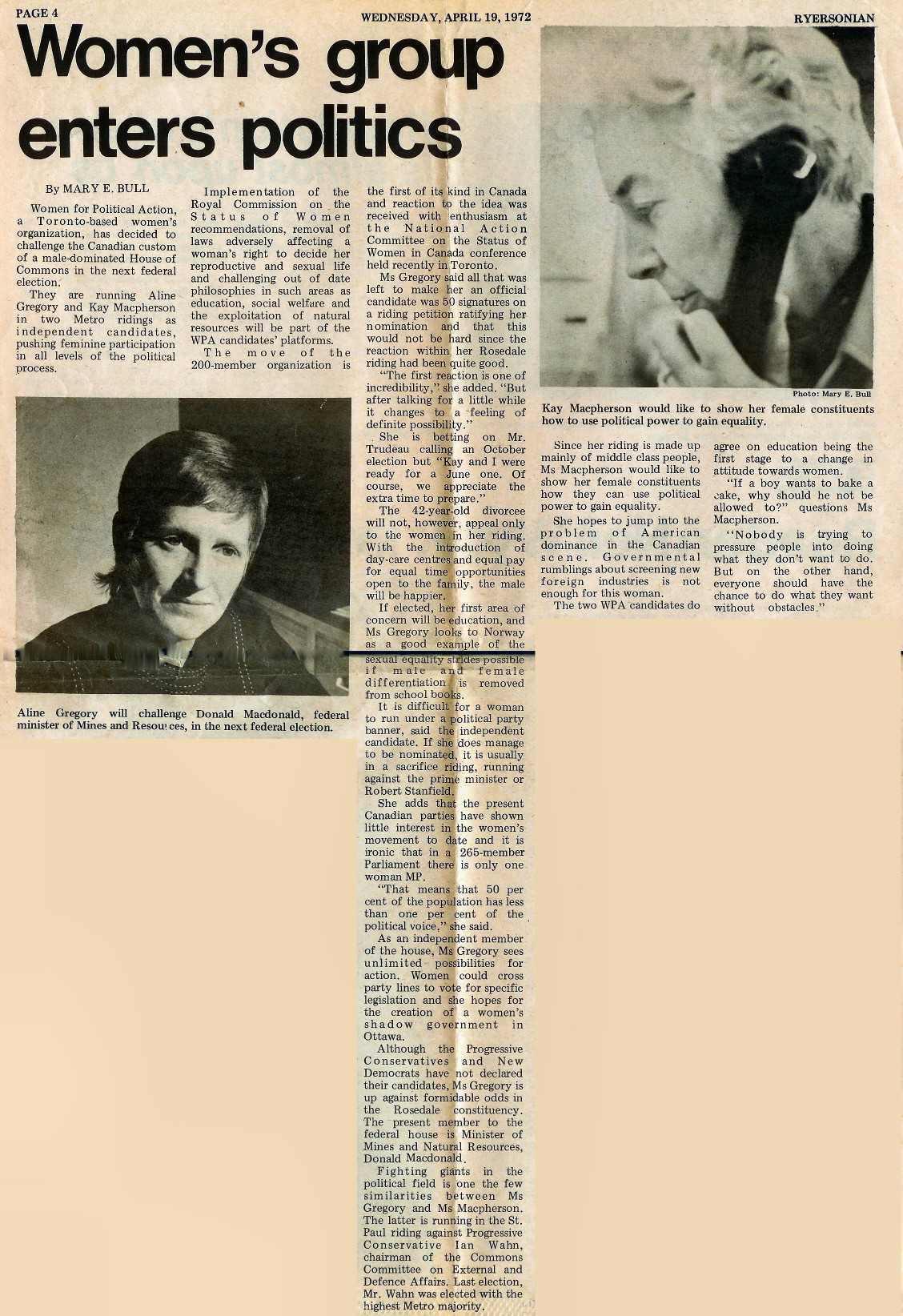 Womens Group Enters Politics - Ryersonian, April 1972