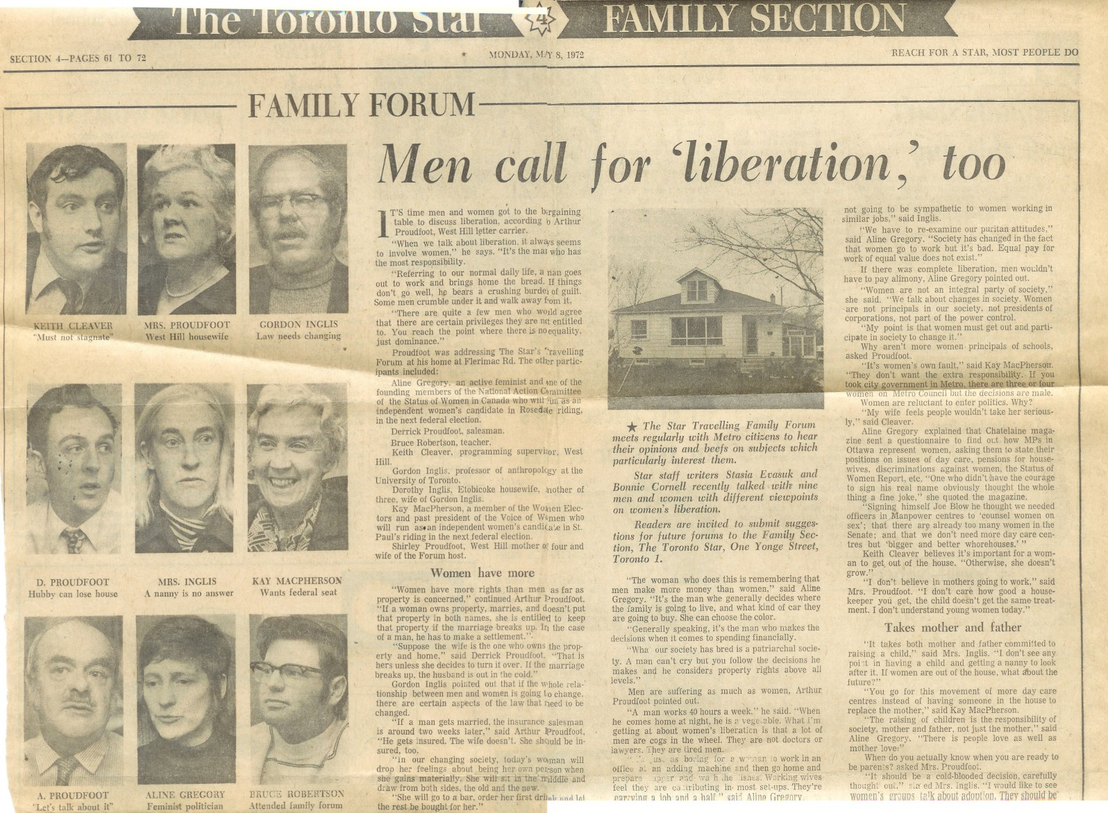 Family Forum - Men call for liberation too - Toronto Star, May 8, 1972