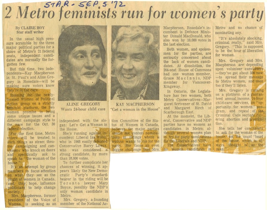 Two Metro feminists run for women's party - Toronto Star Sep 1972