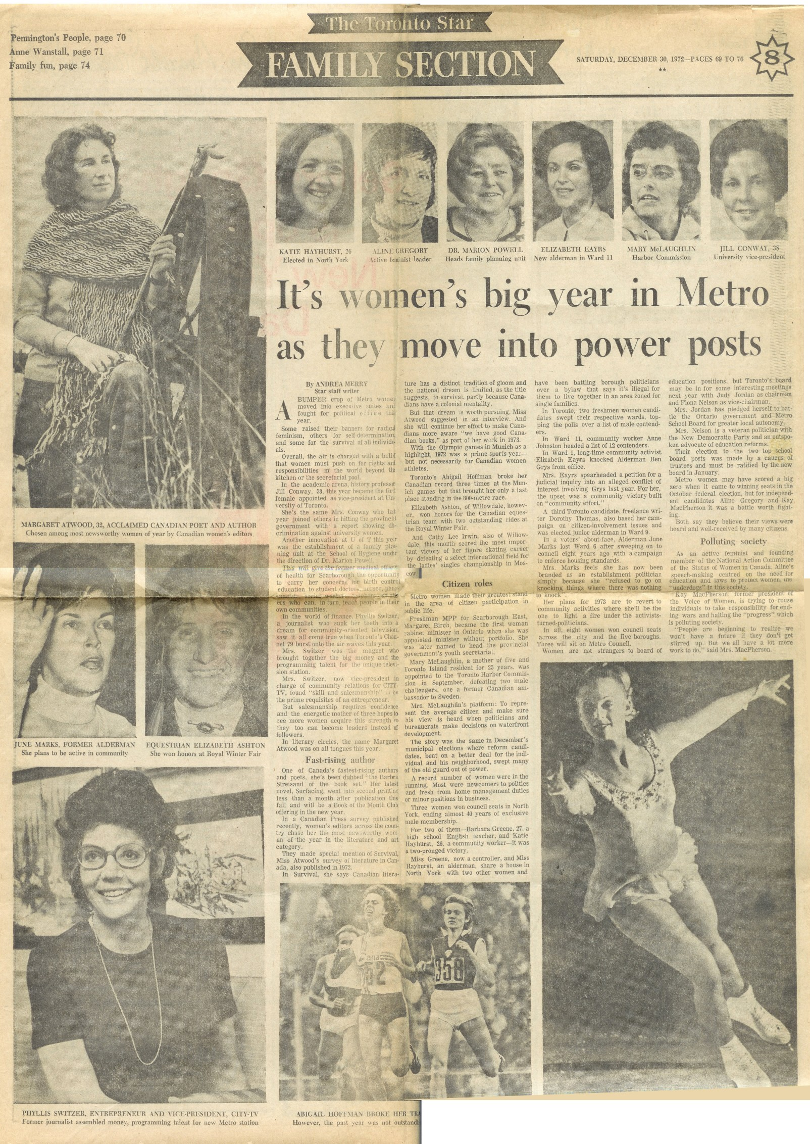 It's women's big year in Metro - Toronto Star - Dec 1972