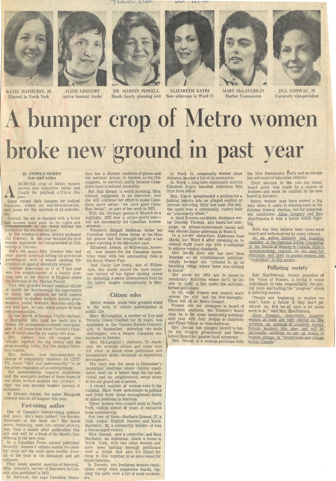 A bumper crop of Metro women broke new ground in past year - Toronto Star, Dec 1972