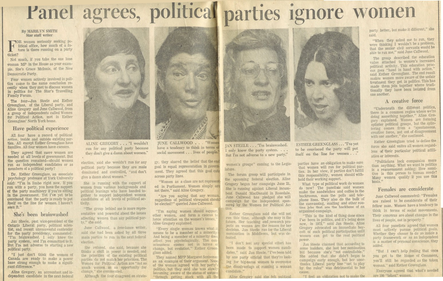 Panel agrees, political parties ignore women - Toronto Star, June 24, 1972