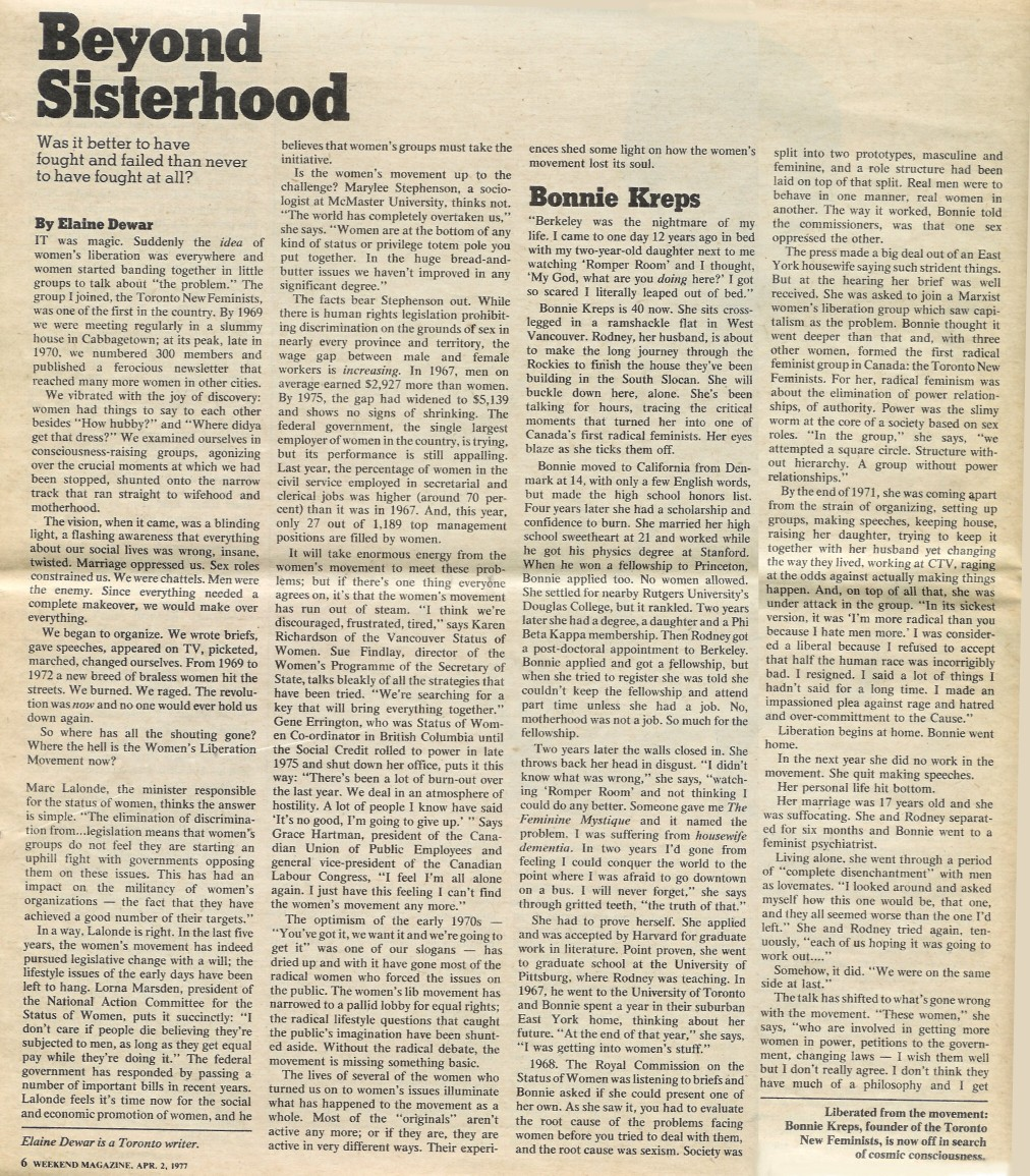 Weekend Magazine - Beyond Sisterhood - Apr 77