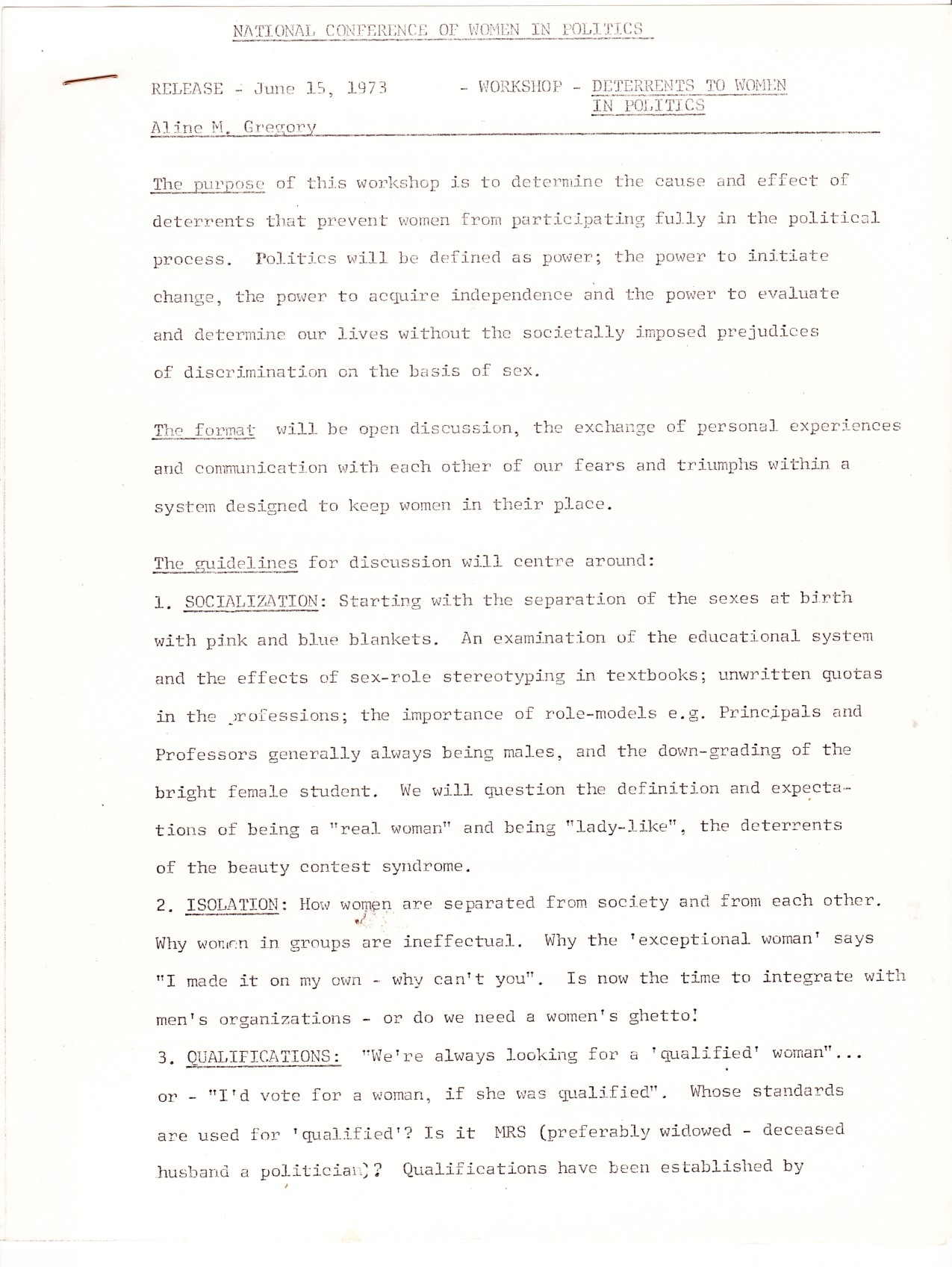 1973 Women In Politics Conference - Workshop Notes: Deterrents to Women in Politics page 1